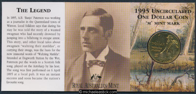 "1995 Australia Waltzing Matilda $1 Unc Coin /""M/"" Mark"